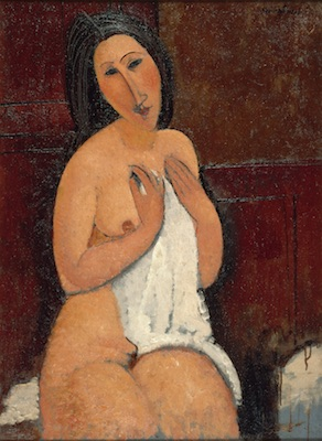 Amedeo Modigliani, Nu assis à la chemise, 1917. Donation Geneviève et Jean Masurel. LaM, Villeneuve d'Ascq. Photo : Philip Bernard